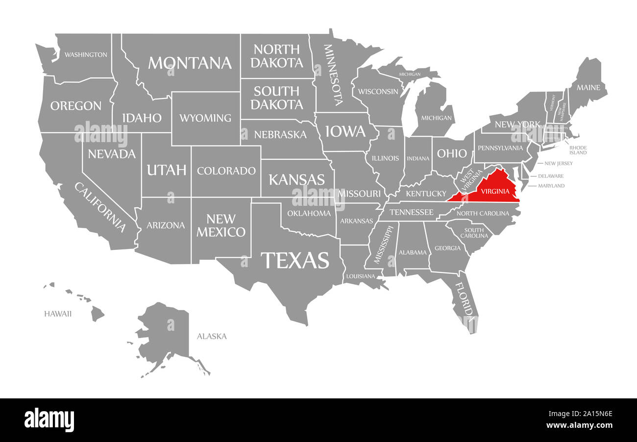 Virginia In Us Map Virginia red highlighted in map of the United States of America