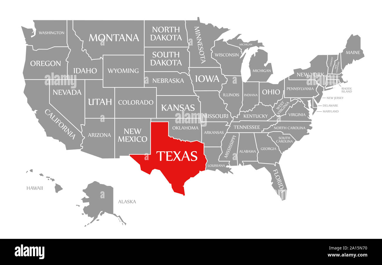 united states map texas Texas Red Highlighted In Map Of The United States Of America Stock