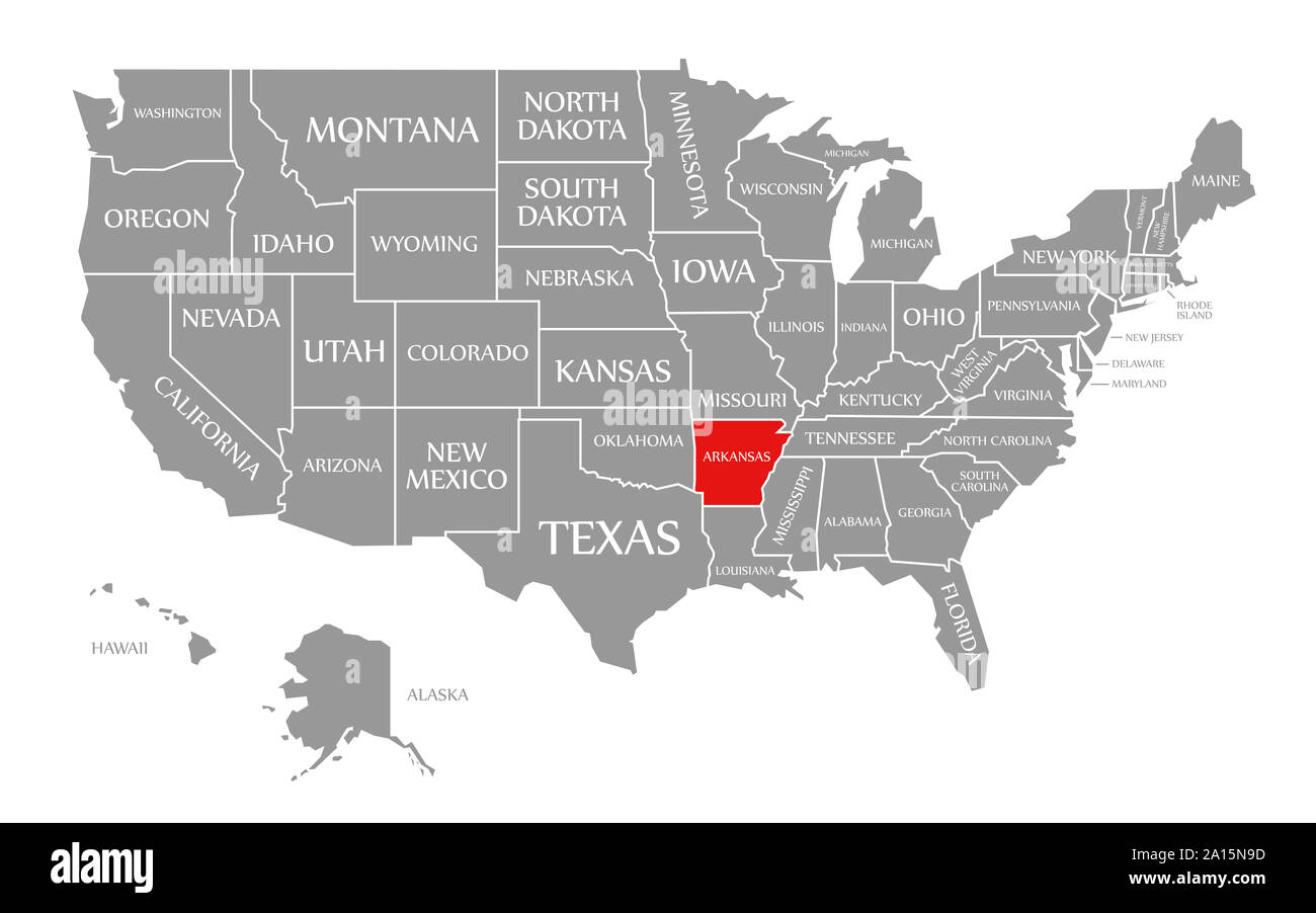 Arkansas red highlighted in map of the United States of ...