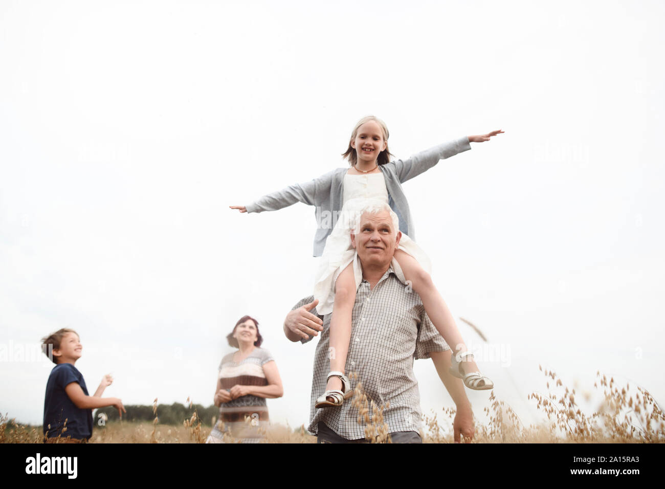 Happy girl sitting on her grandfather's shoulders in nature with brother and grandmother in the background Stock Photo