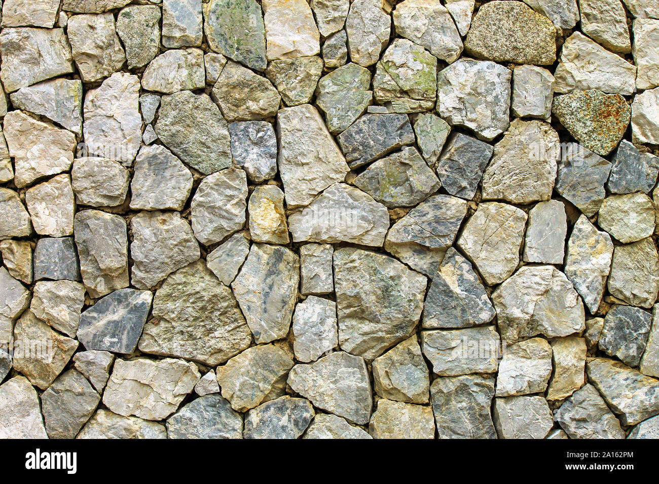 Wall Of Gray Large Stone Decorative Material Industrial