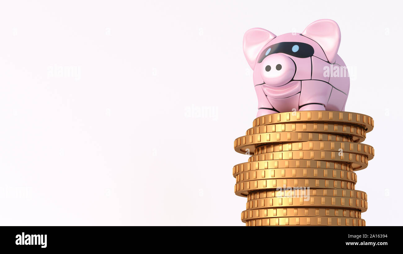 Rendering of pink robot piggy bank on top of stack of coins Stock Photo