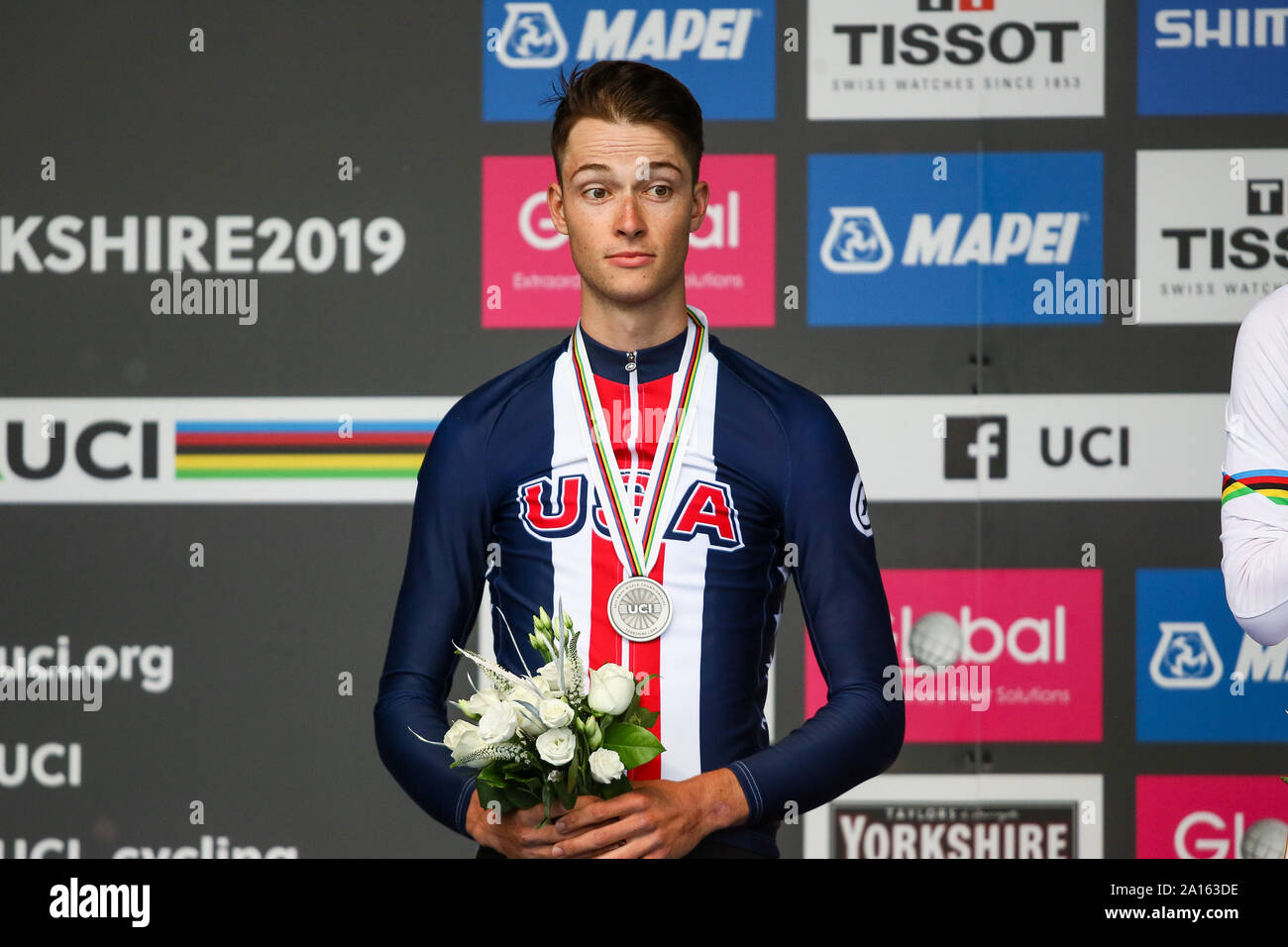 Harrogate, UK. 24th September 2019. Ian Garrison of the USA takes ilver in the 2019 UCI Road World Championships Mens Under 23 Elite Individual Time Trial. September 24, 2019 Credit Dan-Cooke/Alamy Live News Stock Photo