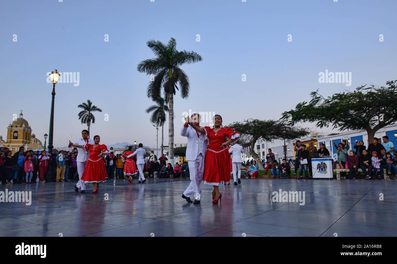 Dancing in the Plaza de Armas in Trujillo, Peru Stock Photo