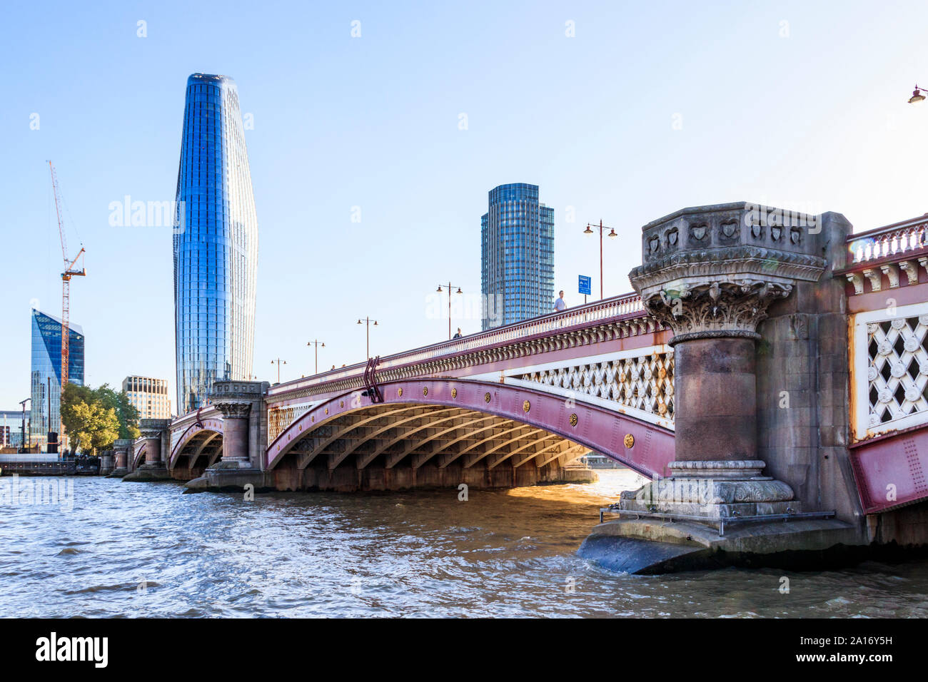 Blackfriars Bridge, a road and pedestrian bridge over the River Thames, The Vase (No. 1 Blackfriars) on its south side, London, UK Stock Photo