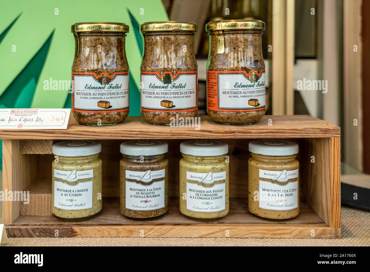 Edmond Fallot mustard, Dijon, Burgundy, France, Stock Photo