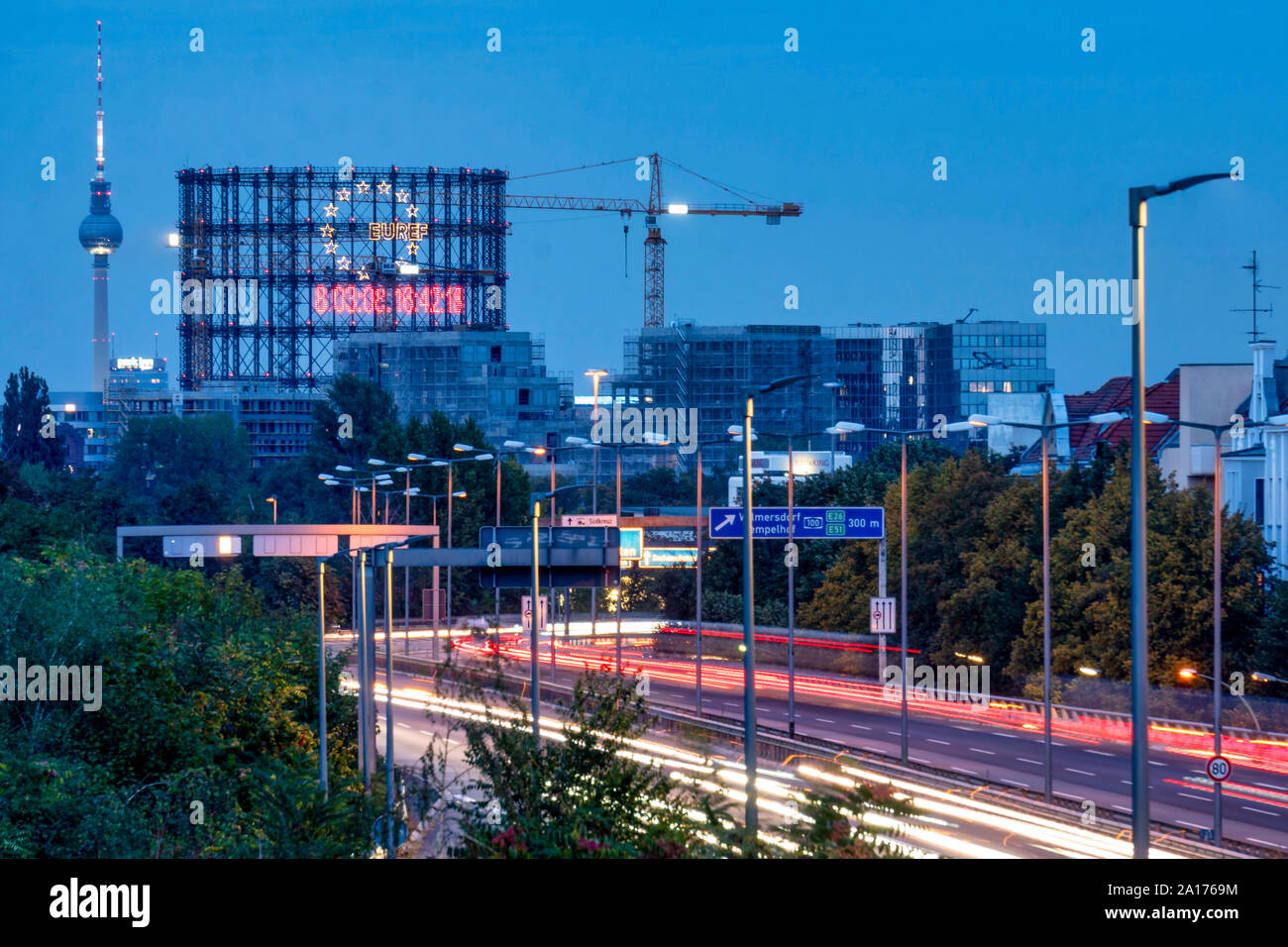 Climate Countdown at the Gasometer on the EUREF Campus in Schöneberg, A 100 highway, Stock Photo