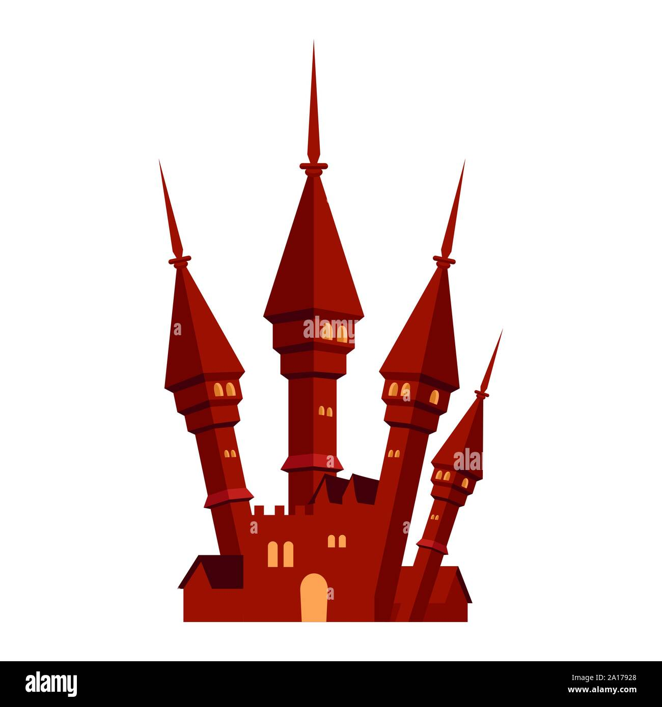 halloween dark castle isolated icon Stock Vector