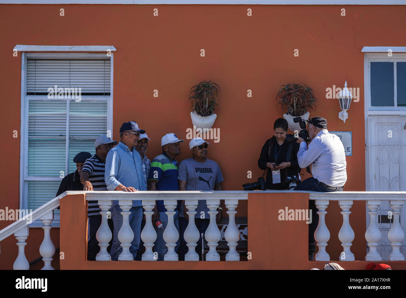 BoKaap residents turnout for Prince Harry and Meghan Markle visit to Cape Town's historical muslim and slave quarter in South Africa Stock Photo