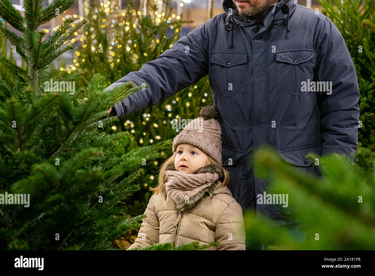 Father and daughter choose a Christmas tree in a shop Stock Photo