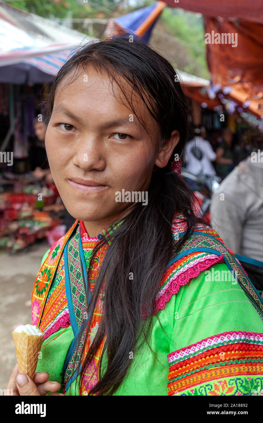Minority ethnic woman in the small market town of Coc Pai in Ha Giang province, in the mountainous northwestern part of Vietnam. Stock Photo