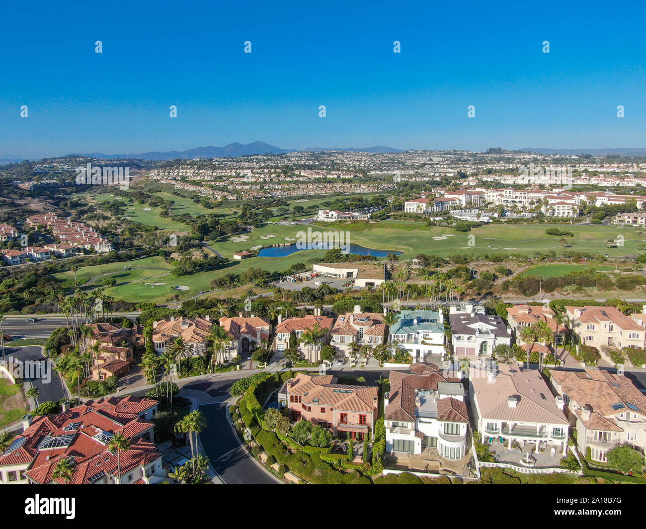 Aerial view of Monarch beach coastline. Small neighborhood in Orange County City of Dana Point. California, USA. Aerial view of wealthy villa and town Stock Photo