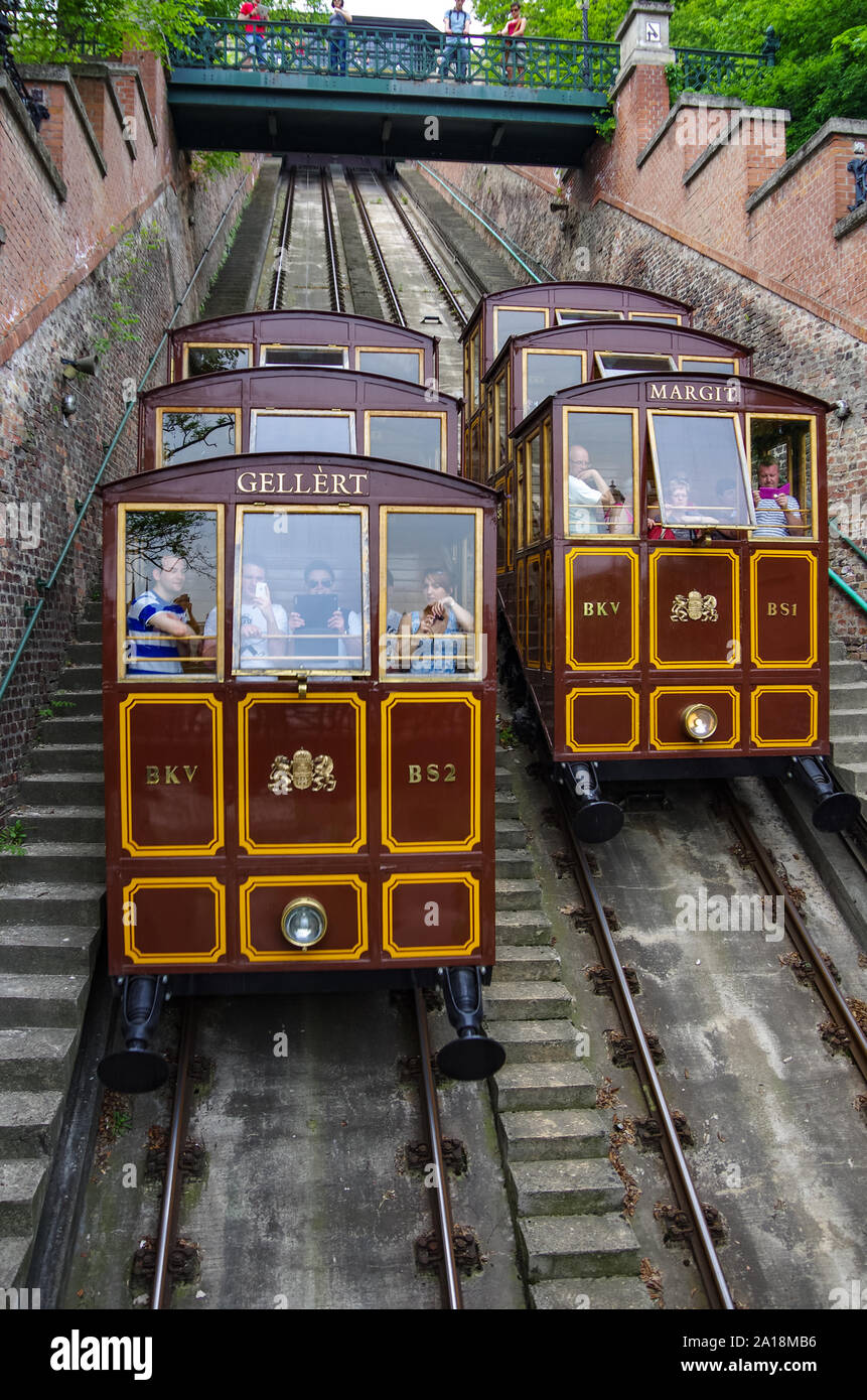 Budapest, Hungary - May 19, 2010: Budapest Castle hill funicular with vintage carriages. Hungary Stock Photo