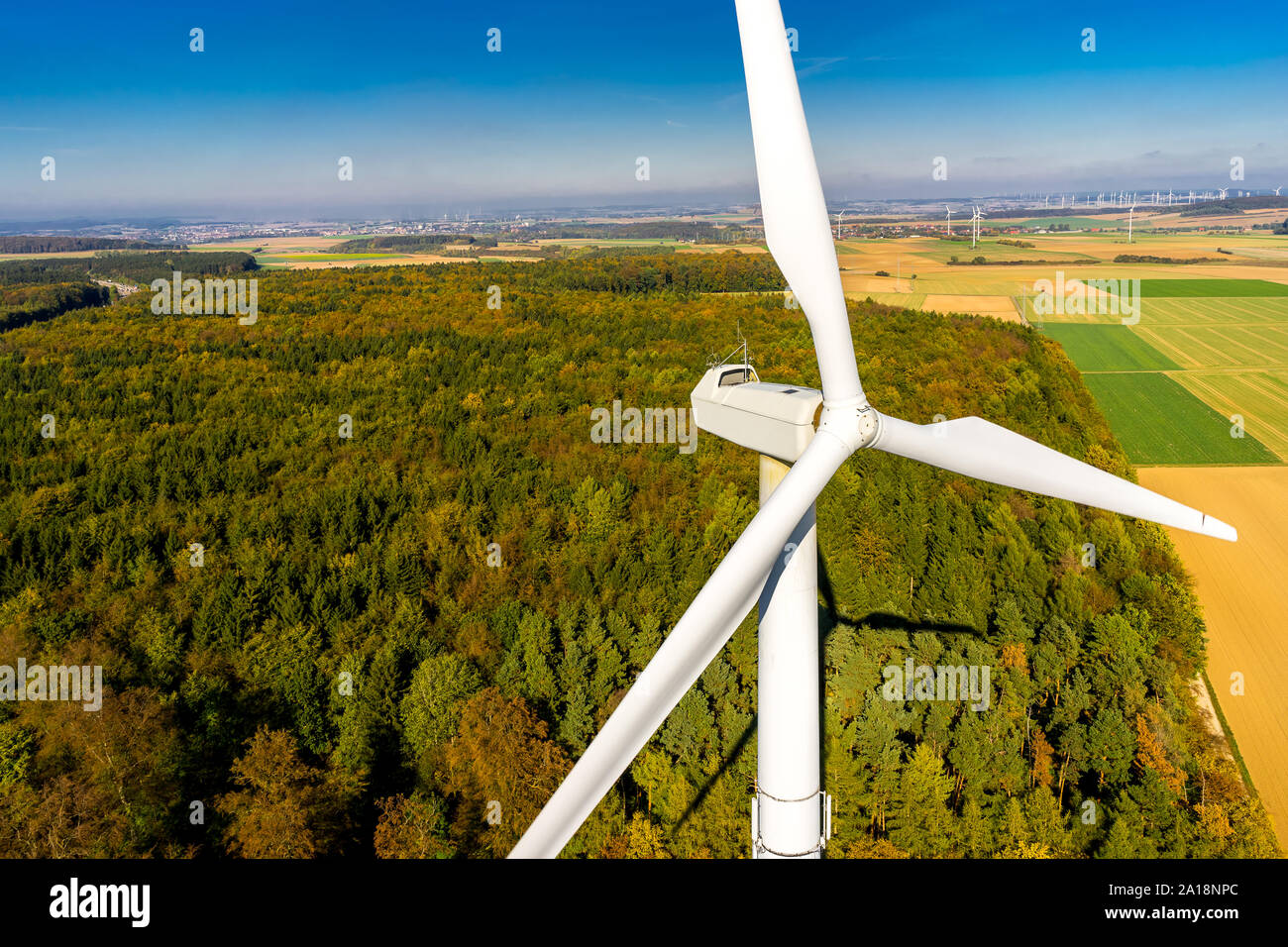 aerial view, autumn, beautiful, blue, climate, climate protection, colorful, drone photo, enercon, energy turn, field, forest, from above, gondola, hi Stock Photo