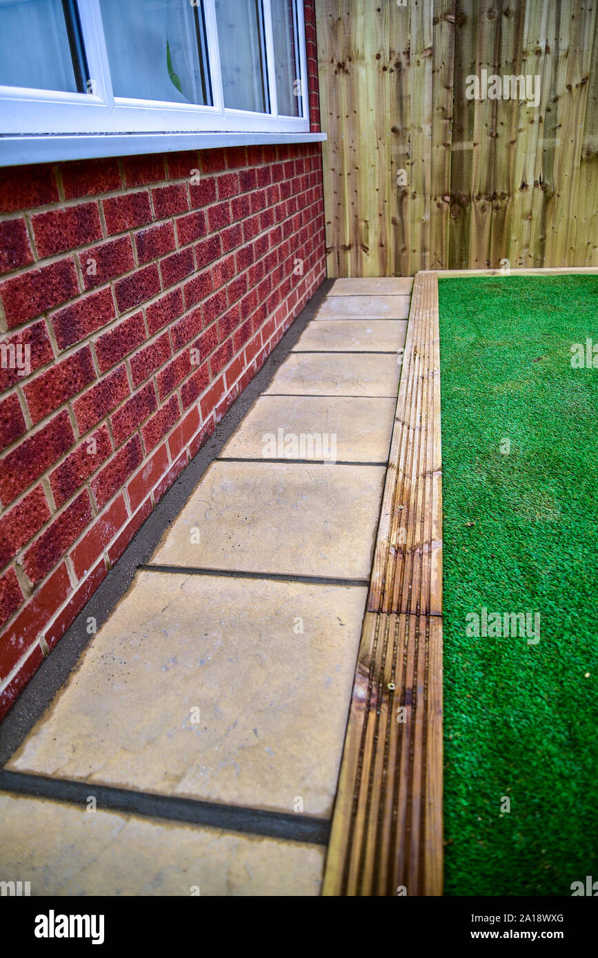 Landscape gardening, blockwork, brickwork, paving & fencing Stock Photo