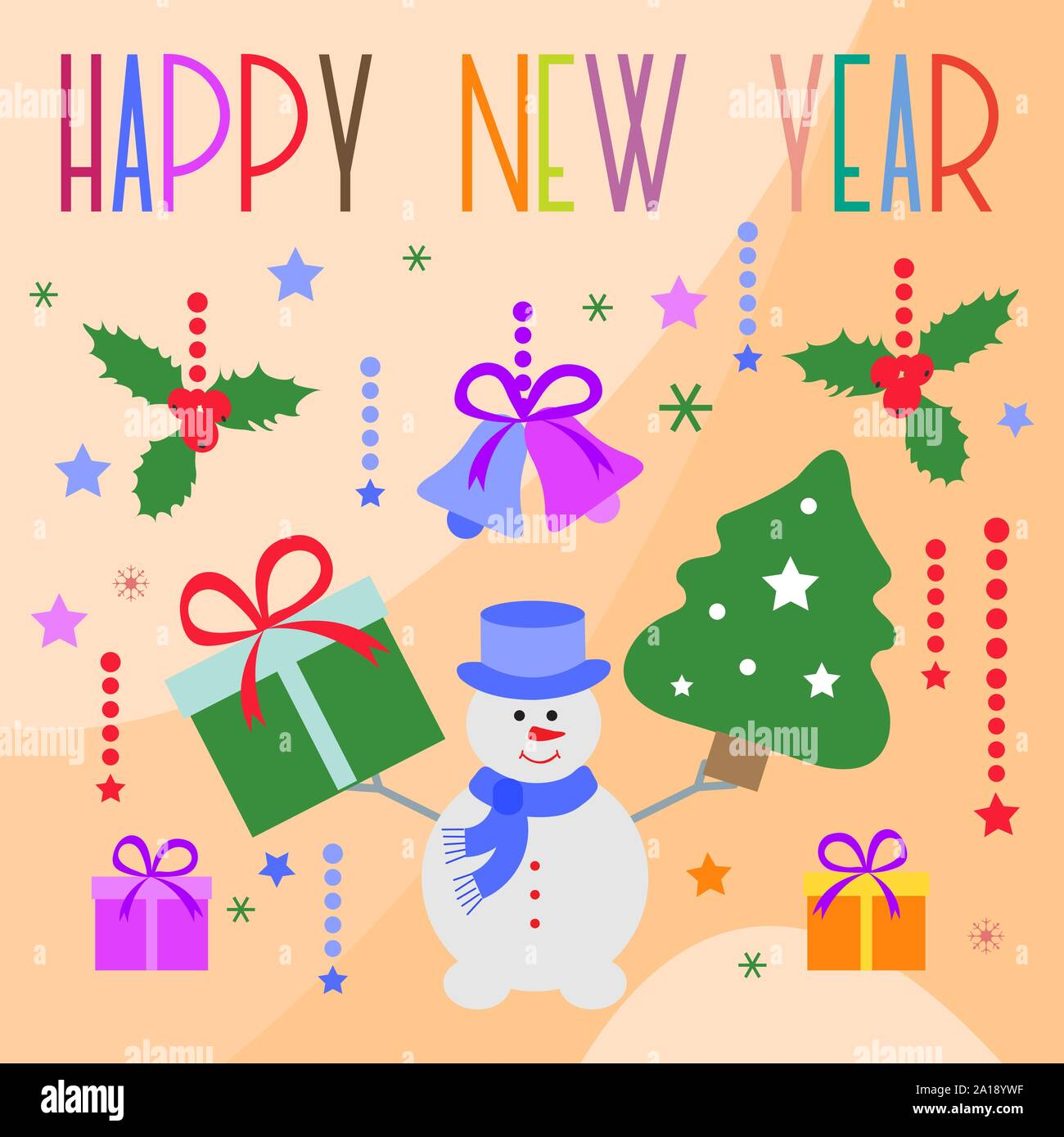 Happy New Year 2020 Merry Christmas Vector Illustration With Snowman Mistletoe Christmas Tree Bells Gifts Design For Poster Card Wrapping Fa Stock Vector Image Art Alamy