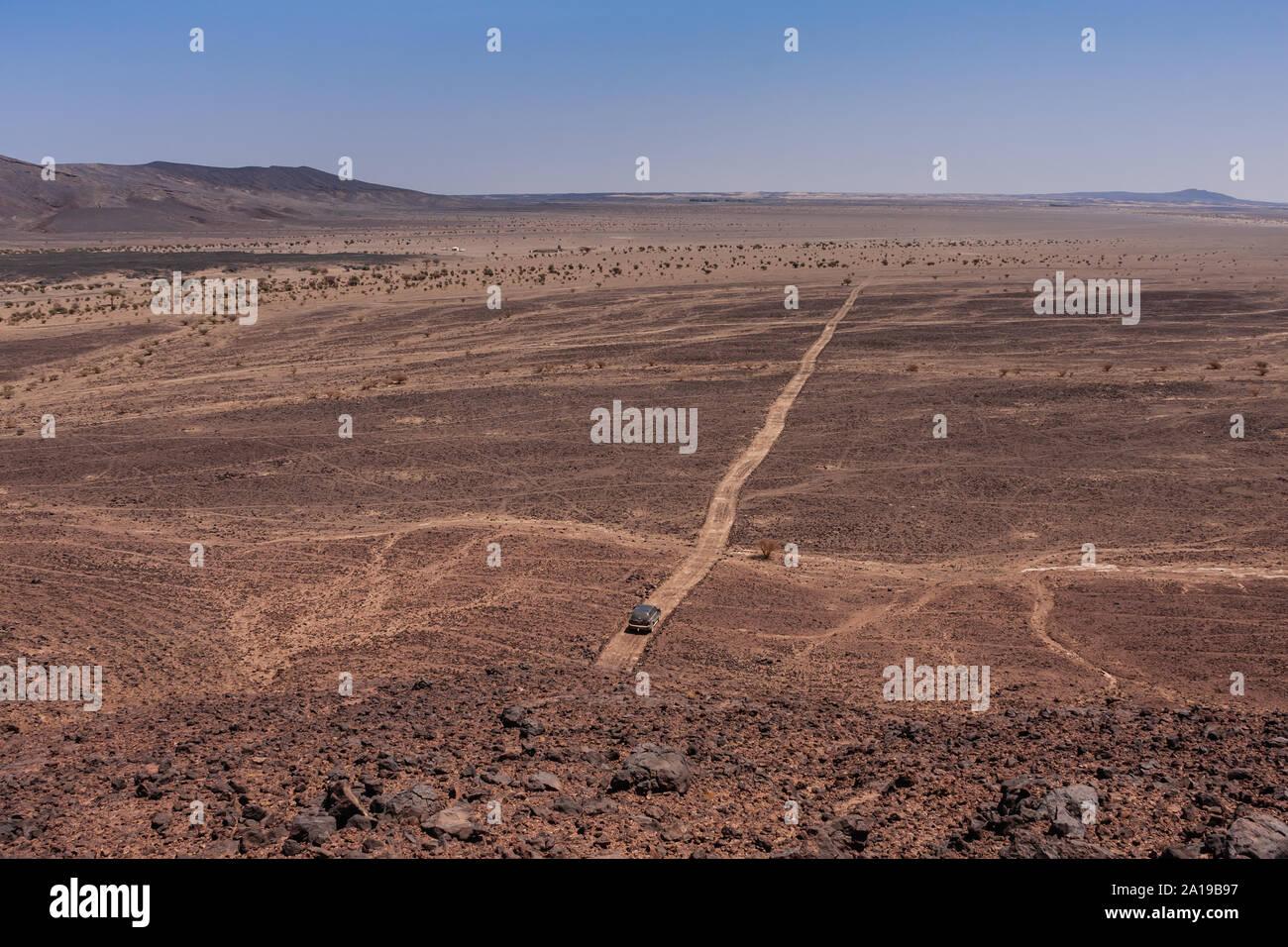 An Aerial View Of A Lonely Suv On The Harrat Kishb Volcanic Field Makkah Province Saudi Arabia Stock Photo Alamy