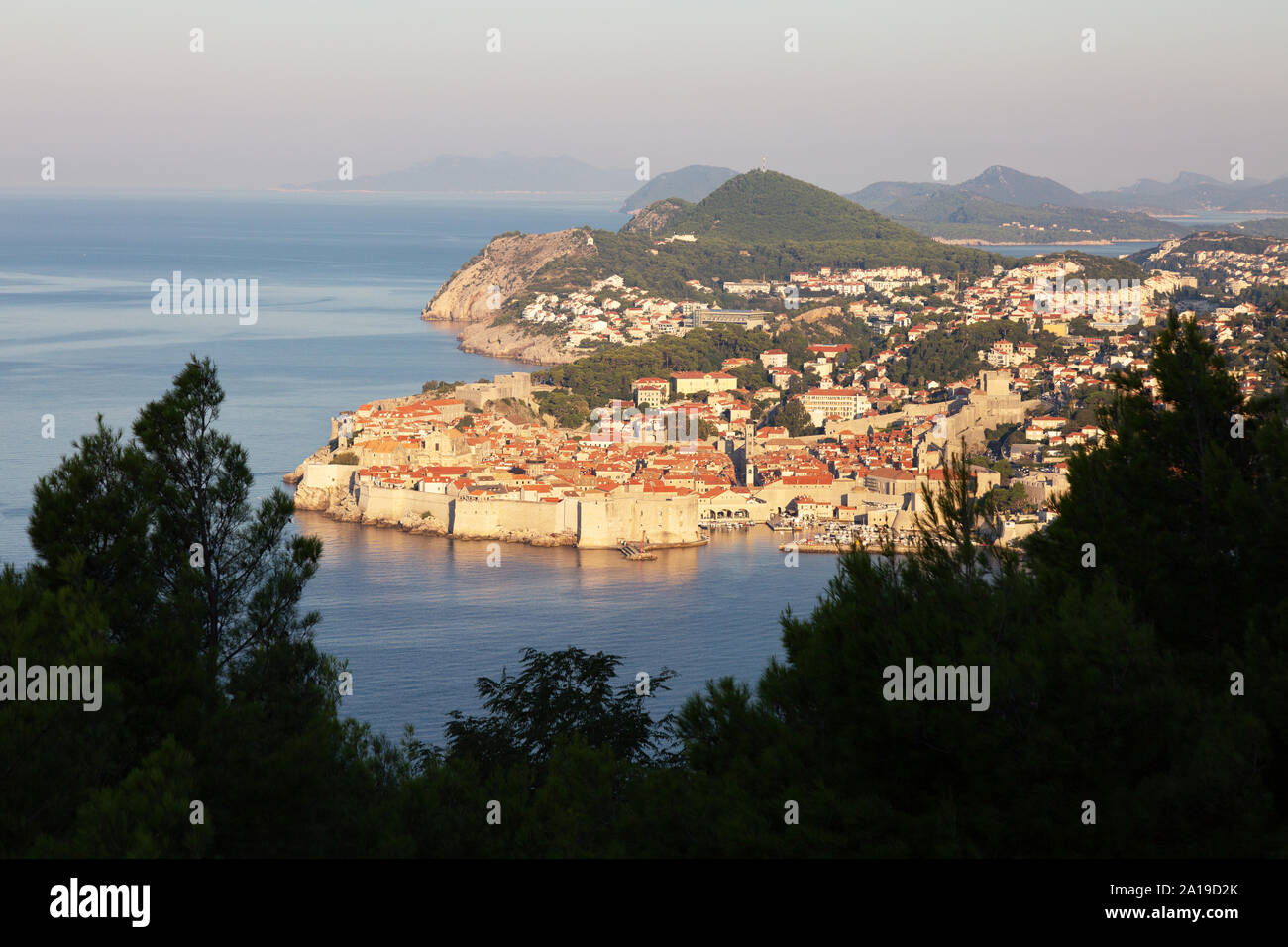 Dubrovnik old town UNESCO world heritage site  landscape - the city walls seen from the south along the Dalmatian Coast, Dubrovnik Croatia Europe Stock Photo