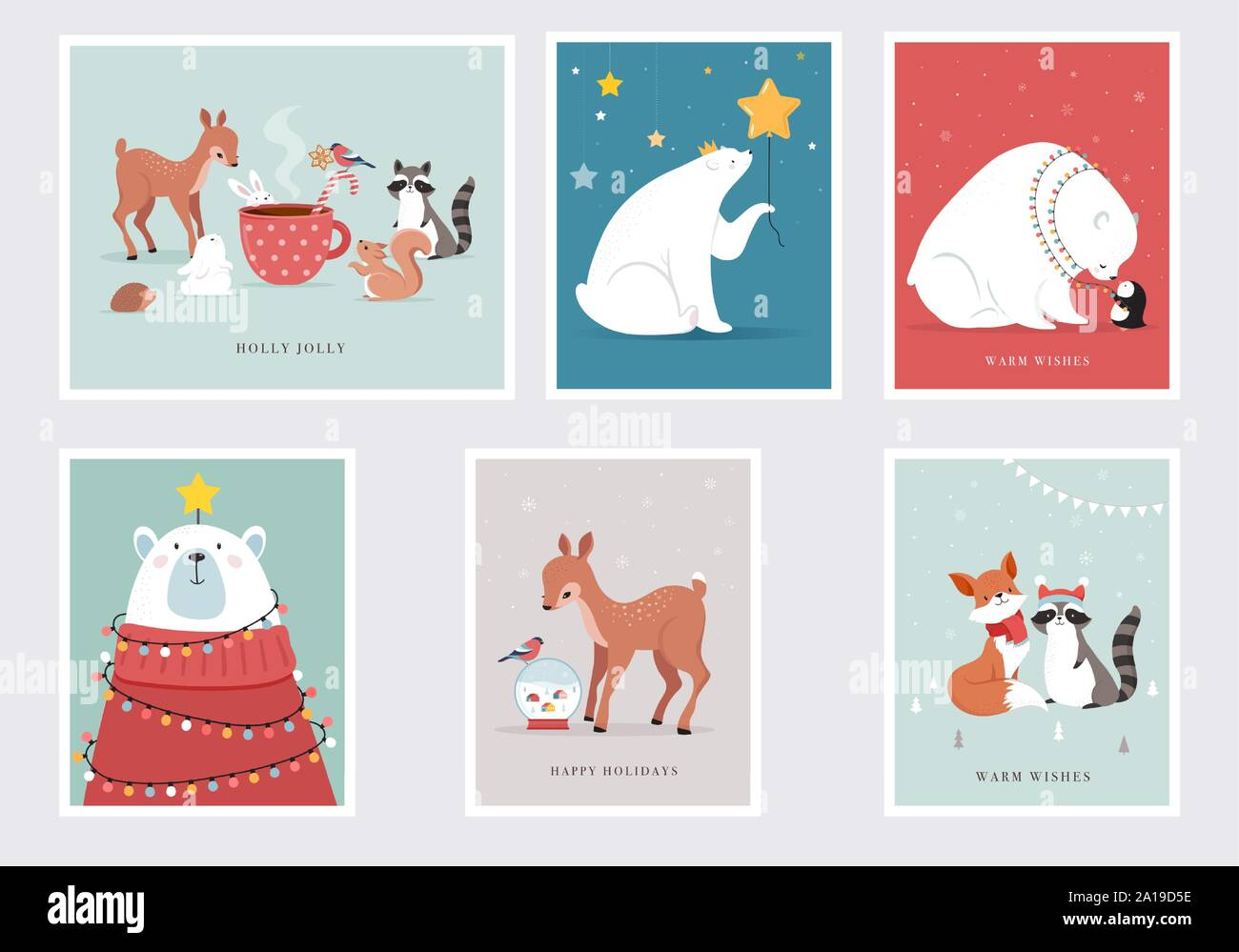 Baby Jesus Fox Rabbit Deer Raccoons Squirrel Religious Christmas Greeting Card