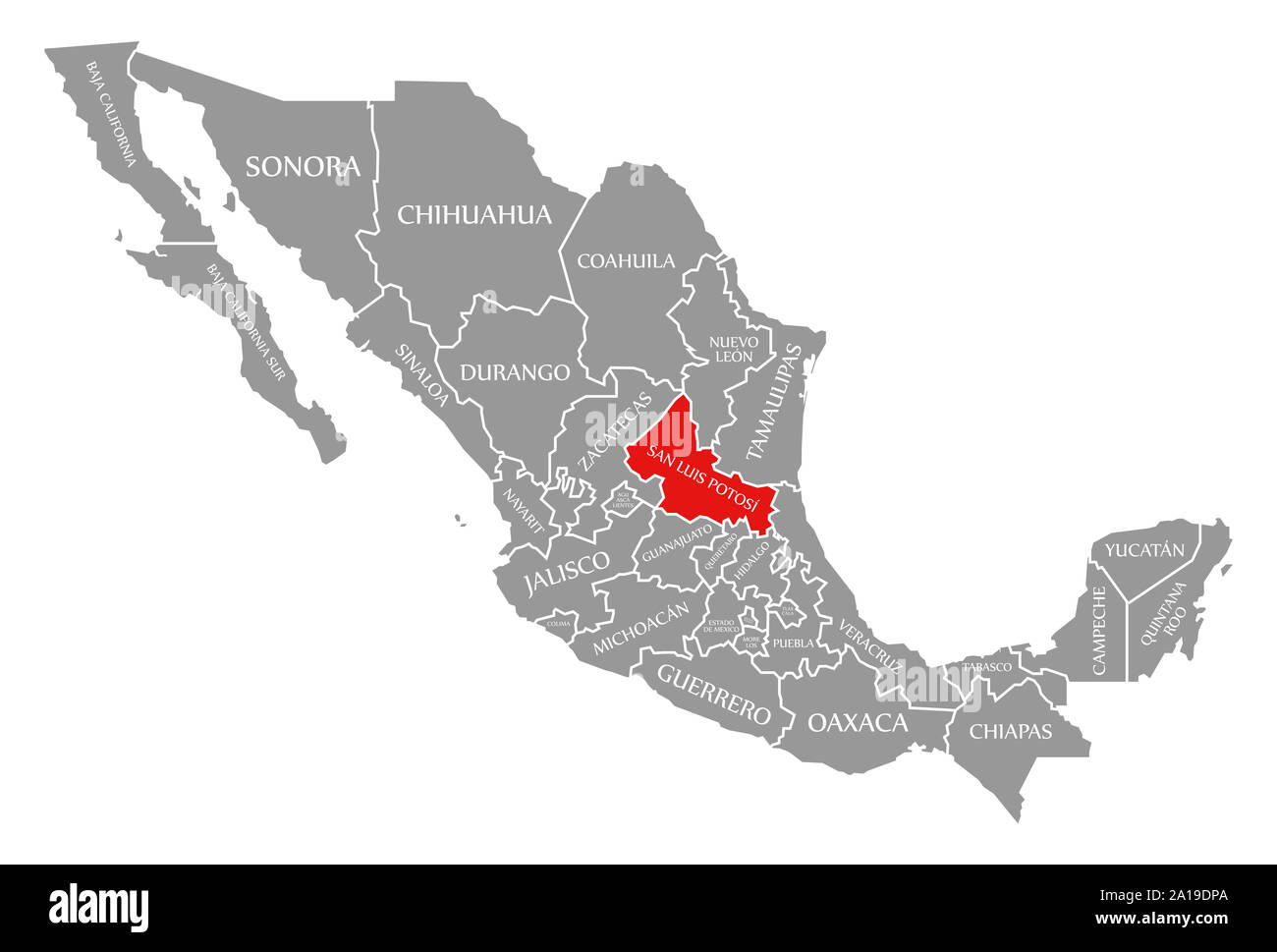san-luis-potosi-red-highlighted-in-map-of-mexico-2A19DPA.jpg
