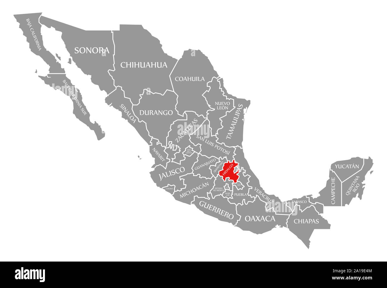 Hidalgo Red Highlighted In Map Of Mexico Stock Photo 327820324