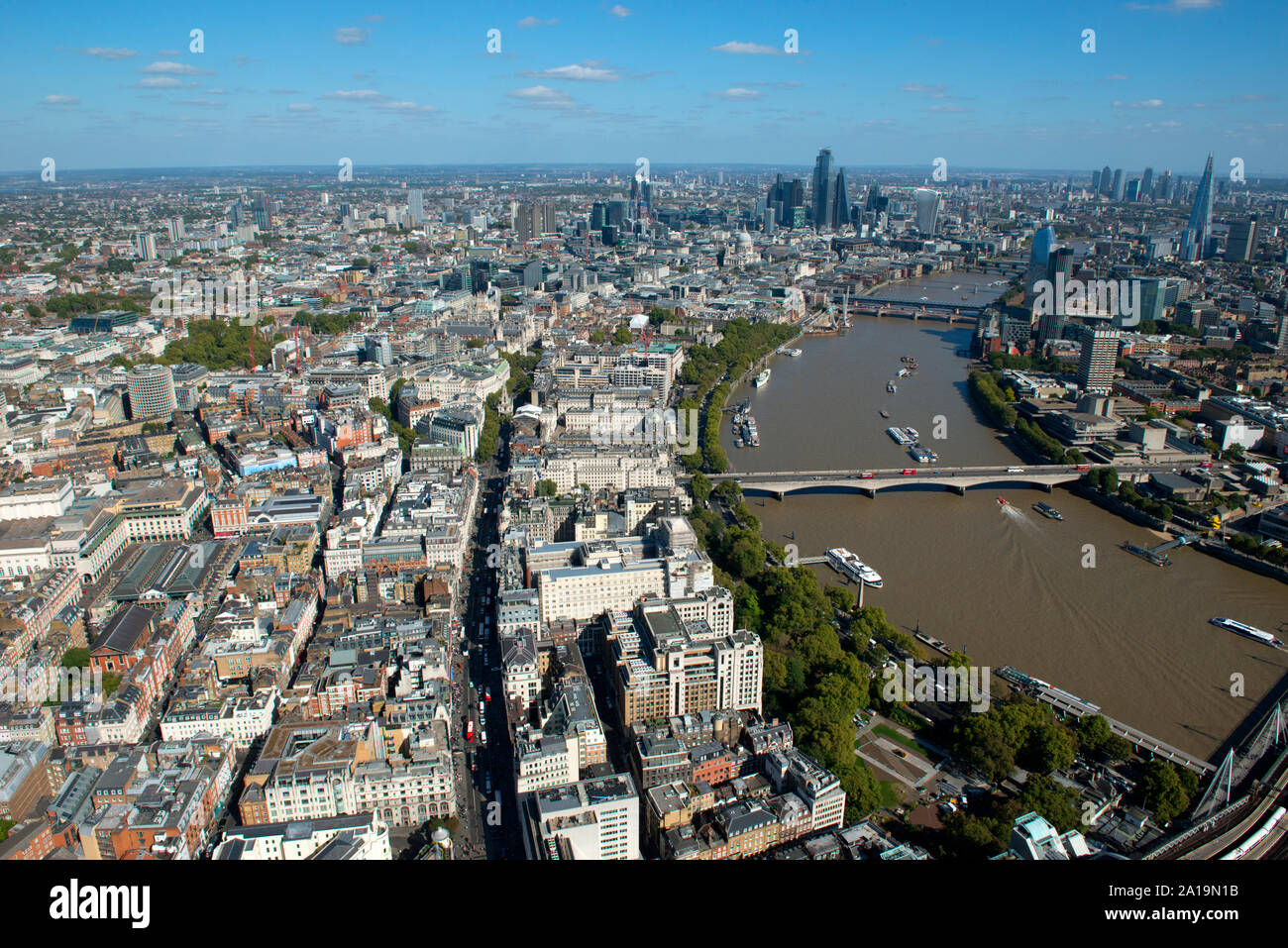 An aerial view to the River Thames across Embankment and the Shard. Stock Photo