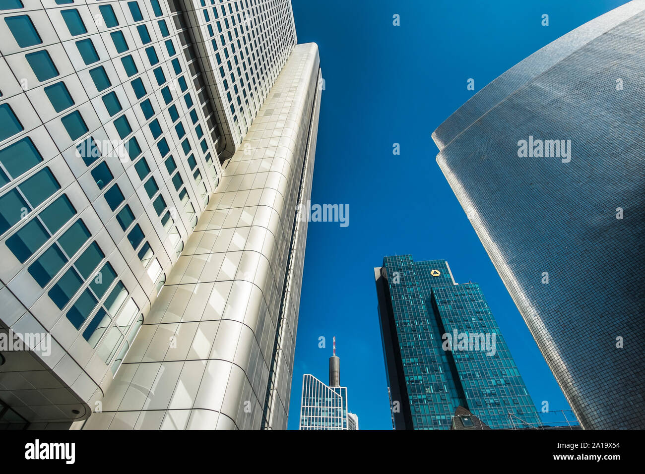 downtown frankfurt, silver tower,  gallileo tower,(commerzbank ), maintower Stock Photo
