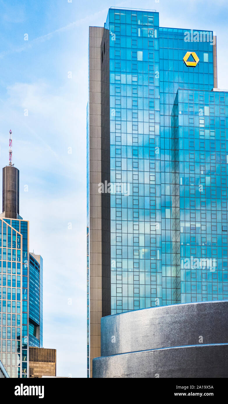 frankfurt financial district, commerzbank tower, gallileo,  maintower Stock Photo
