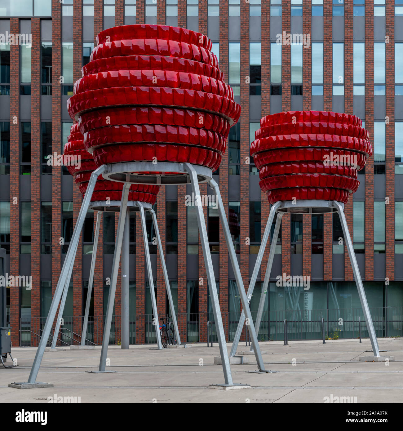 These amazing sculptures were made of red plastic car tail lights. By Wolfgang Winter and Berthold Hörbelt for the Dortmunder U, a converted  brewery. Stock Photo