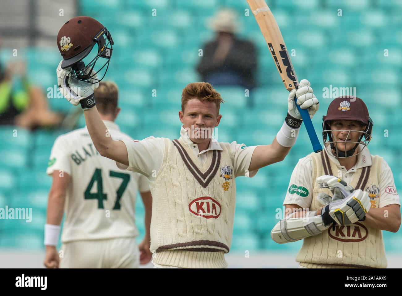 London, UK. 25 September, 2019. Ollie Pope gets his 100 batting for Surrey against Nottinghamshire on day three of the Specsavers County Championship game at the Oval. David Rowe/Alamy Live News Stock Photo