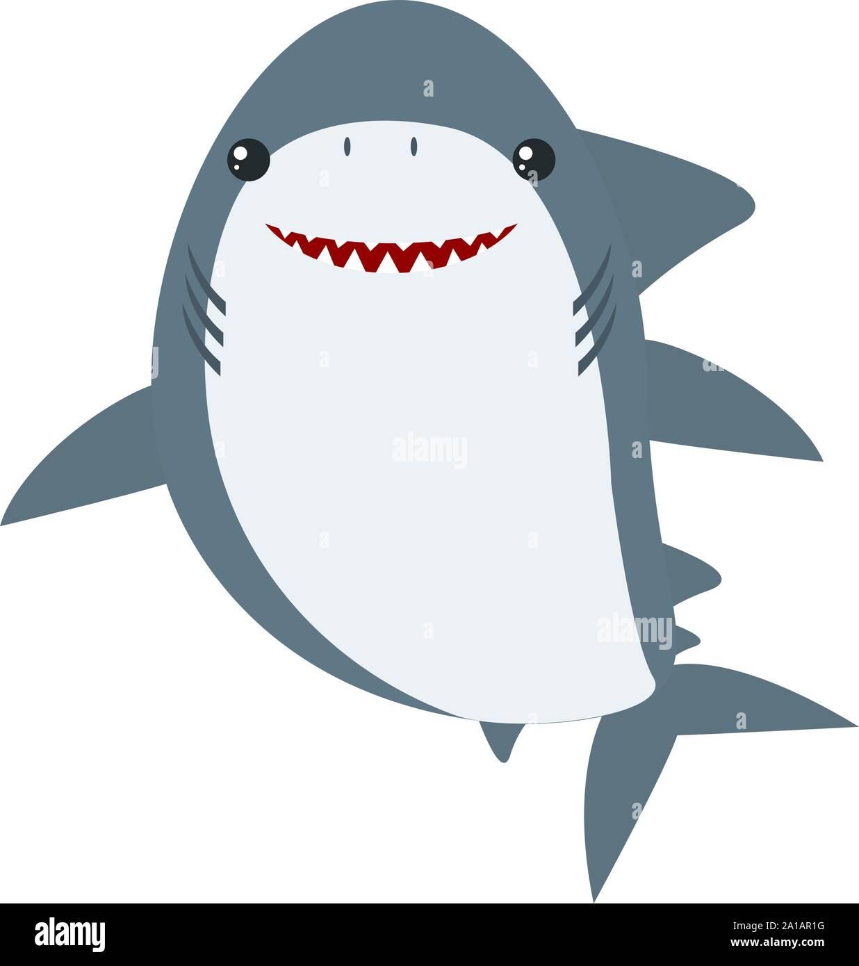 Happy shark, illustration, vector on white background. Stock Vector