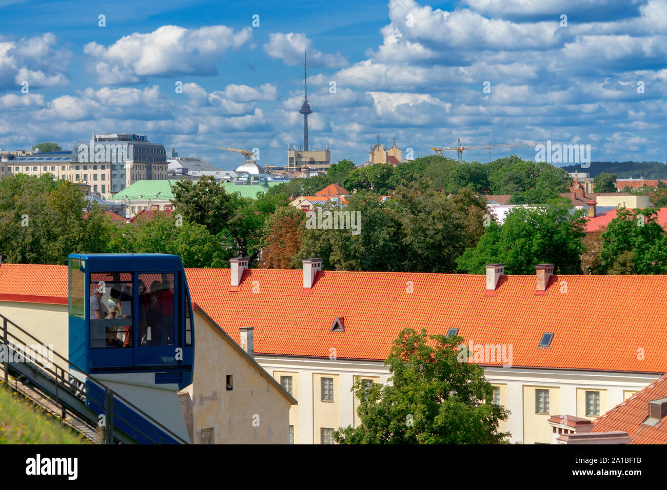Vilnius, Lithuania - August 19, 2019: View to Vilnius city with funicular to Gediminas tower in Vilnius, Lithuania Stock Photo
