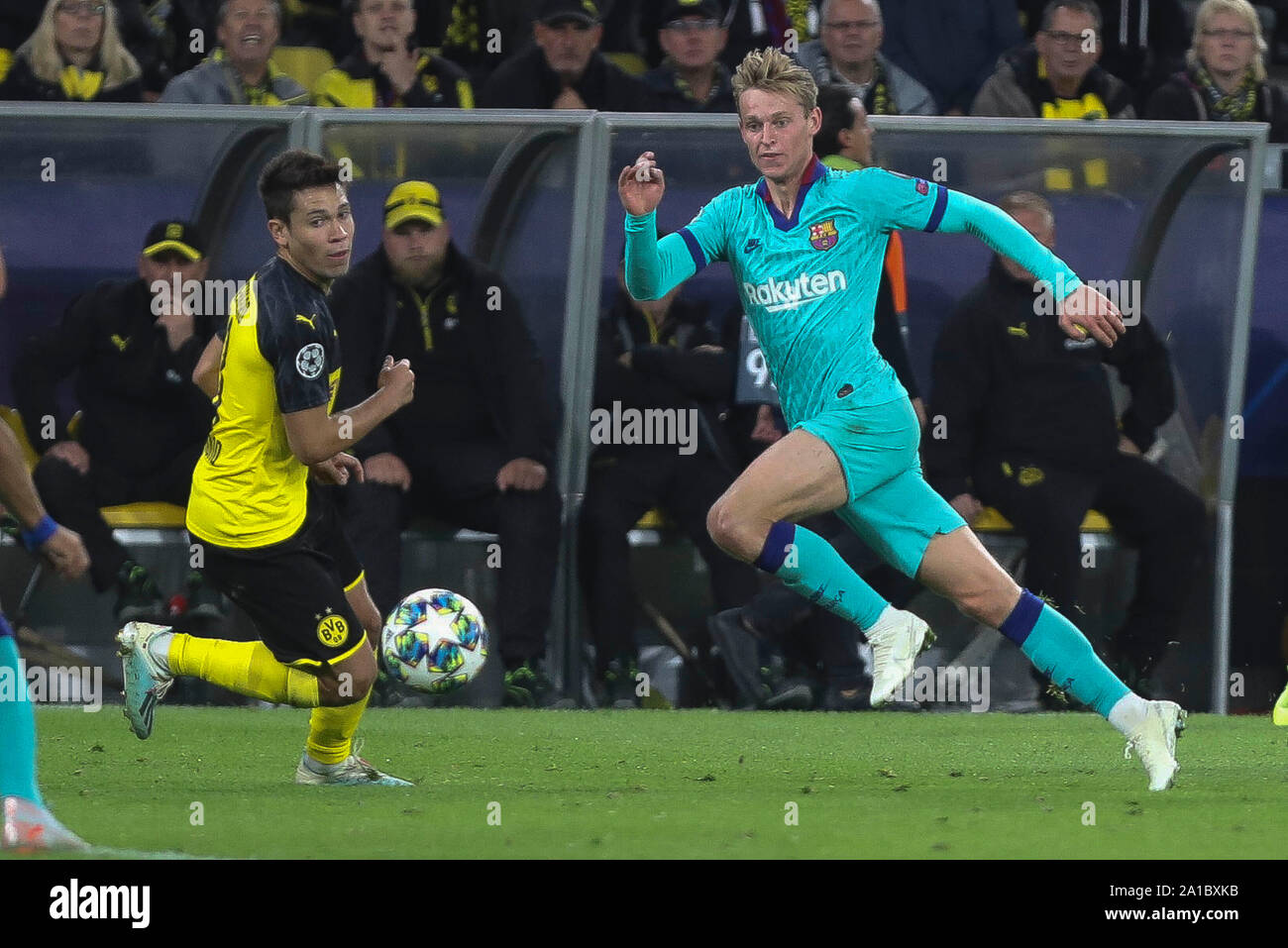 Raphael Guerreiro  in Borussia Dortmund and Frenkie De Jong in FC Barcelone during the UEFA Champions League, Group F football match between Borussia Dortmund and FC Barcelona on September 17, 2019 at BVB Stadion in Dortmund, Germany - Photo Laurent Lairys / MAXPPP Stock Photo