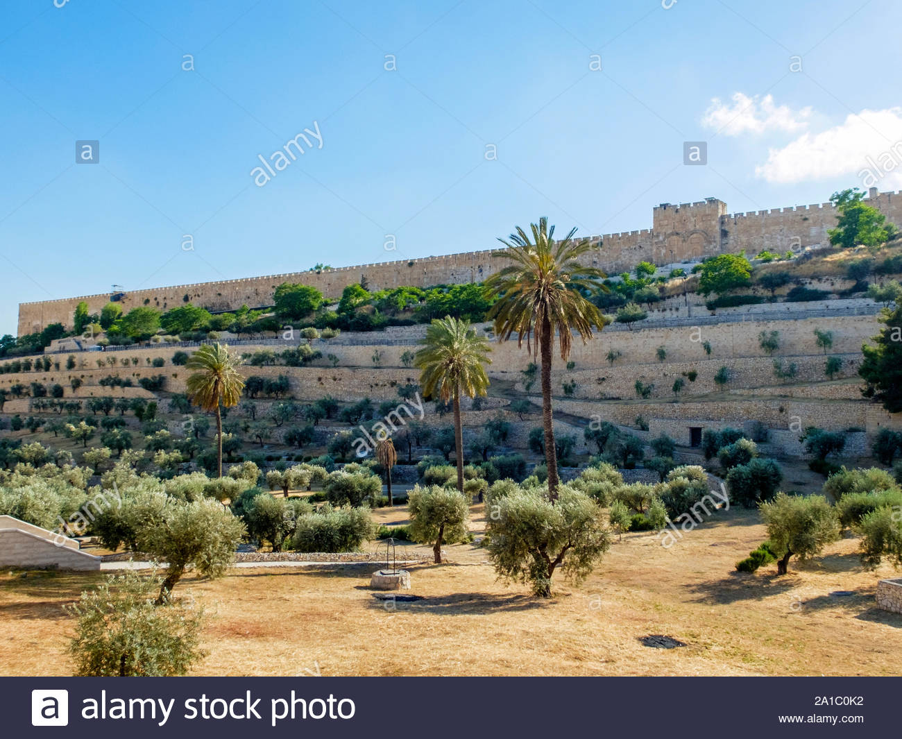 Israel, Jerusalem District, Jerusalem. Kidron Valley and eastern city walls of the Old City. Stock Photo