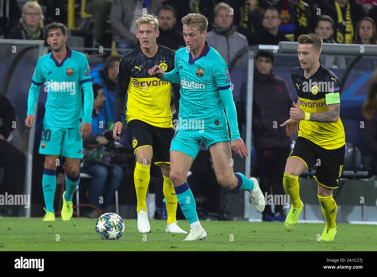 Marco Reus , Julian Brandt  in Borussia Dortmund and Frenkie De Jong in FC Barcelone during the UEFA Champions League, Group F football match between Borussia Dortmund and FC Barcelona on September 17, 2019 at BVB Stadion in Dortmund, Germany - Photo Laurent Lairys / MAXPPP Stock Photo
