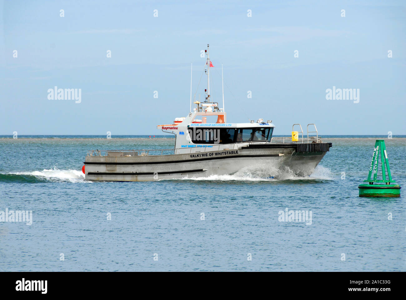Motor vessel 'Valkyrie of Whistable' off the coast of Wells next the Sea, north Norfolk, England Stock Photo