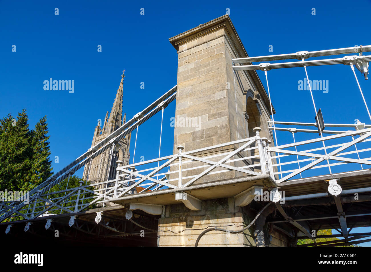 View of the north tower of the Marlow suspension bridge crossing the River Thames in the Wycombe district of Buckinghamshire, southeast England Stock Photo