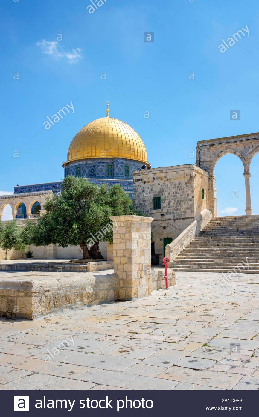 Israel, Jerusalem District, Jerusalem. Dome of the Rock on Temple Mount. Stock Photo