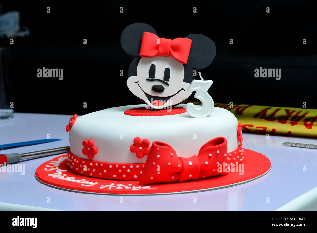 Magnificent Happy Birthday Cake For Kids With Mickey Decoration Stock Photo Personalised Birthday Cards Paralily Jamesorg
