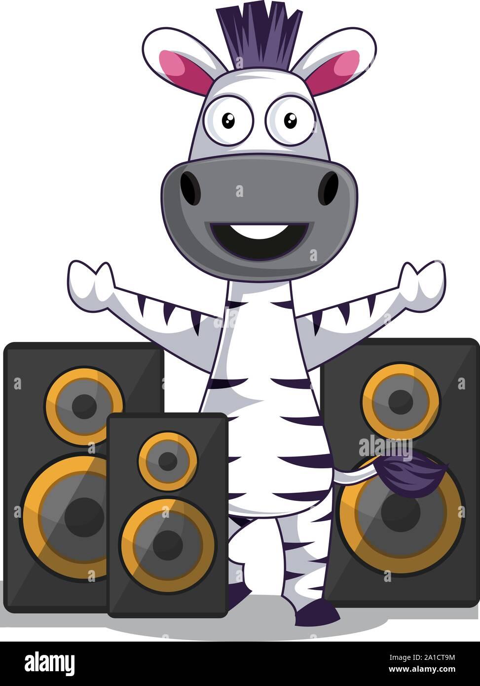 Zebra with speakers, illustration, vector on white background. Stock Vector