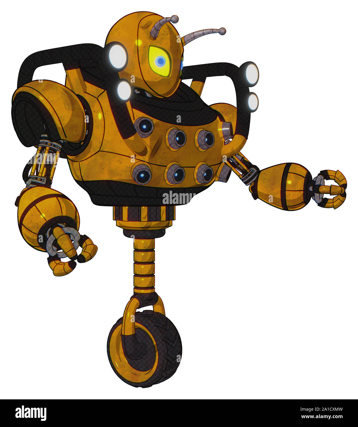 Automaton containing elements: grey alien style head, yellow eyes with blue pupils, bug antennas, heavy upper chest, chest energy sockets, shoulder he Stock Photo