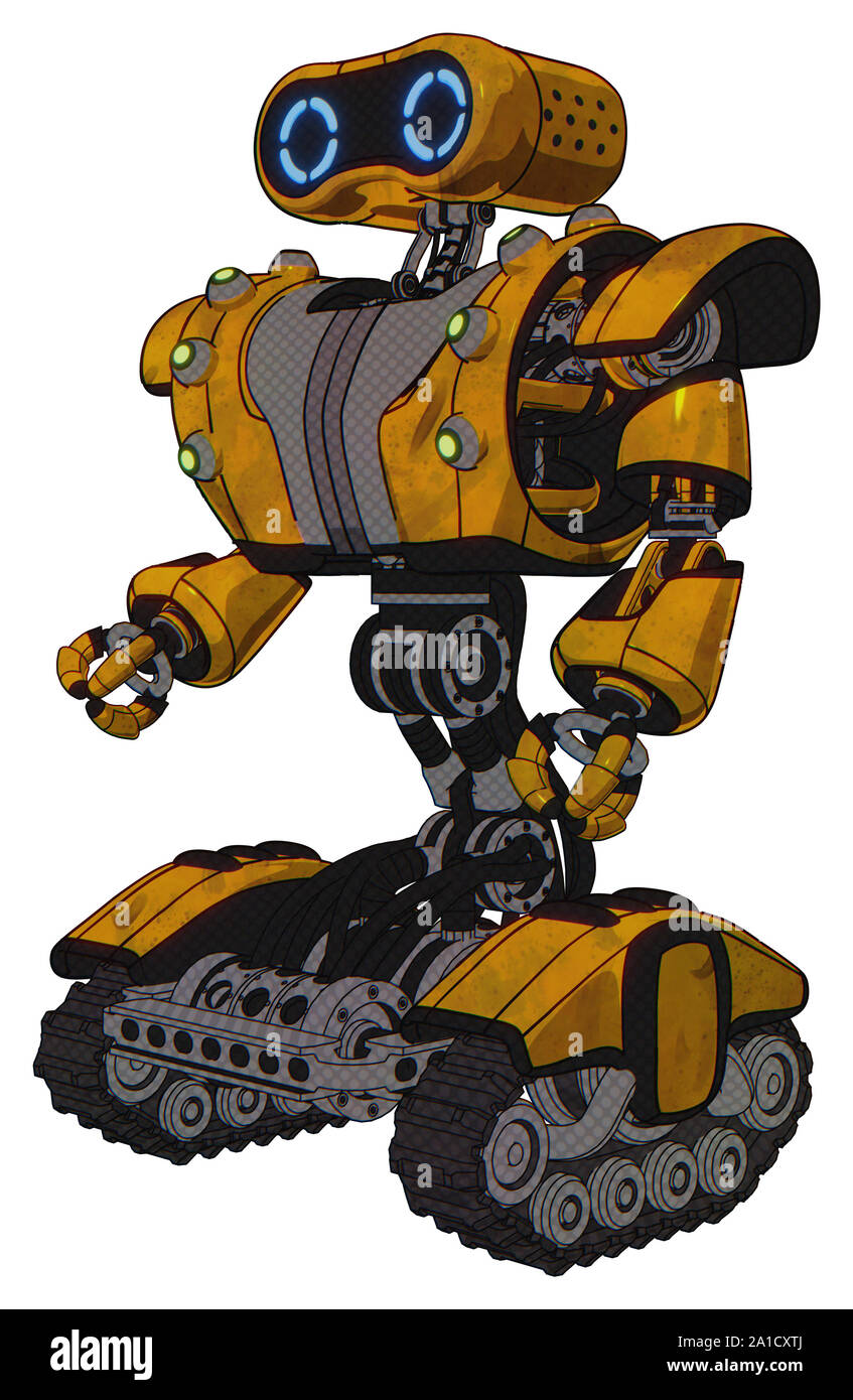 Robot containing elements: dual retro camera head, retro 80's head, heavy upper chest, heavy mech chest, green cable sockets array, tank tracks. Mater Stock Photo