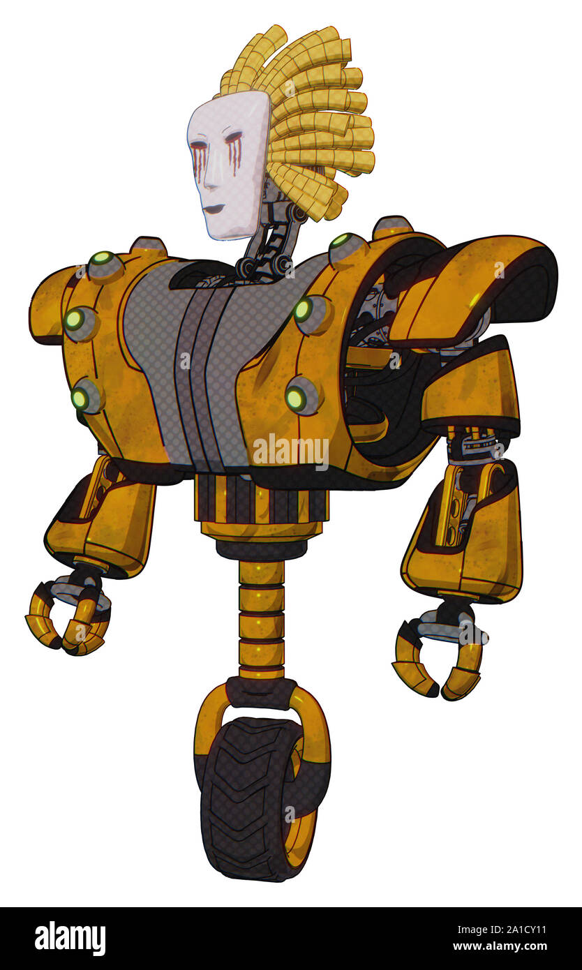 Bot containing elements: humanoid face mask, blood tears, heavy upper chest, heavy mech chest, green cable sockets array, unicycle wheel. Material: Wo Stock Photo