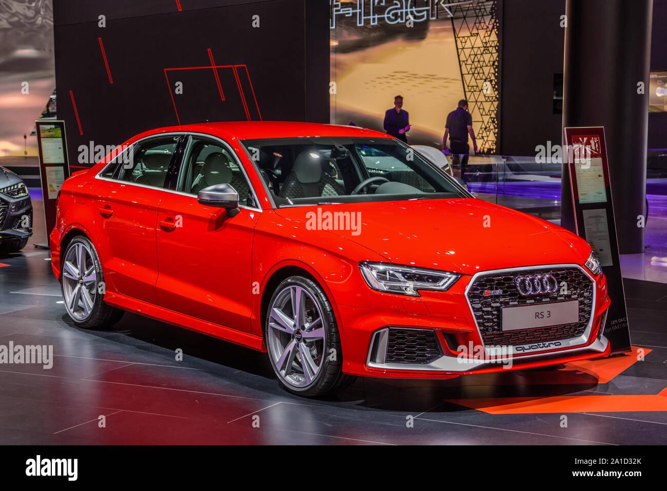 Frankfurt Germany Sept 2019 Red Audi Rs3 A3 3rd Generation Sedan Iaa International Motor Show Auto Exhibtion Stock Photo Alamy