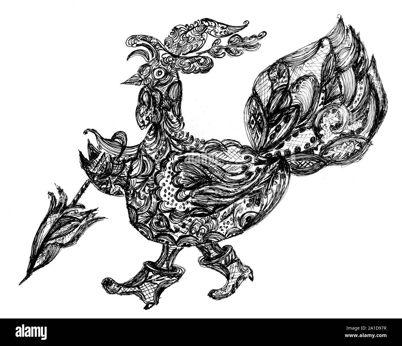 Ornamental stylized thanksgiving turkey bird, black and white. Stock Photo
