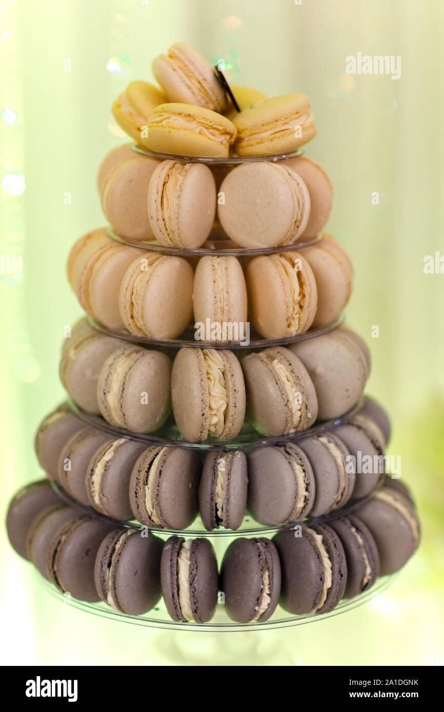 Luxury Wedding Candy Bar Table Set Macaron Tower Or Pyramid And Cupcakes On Sweet Dessert Table Pastel Stylish Colours Sweets Treats Stock Photo Alamy