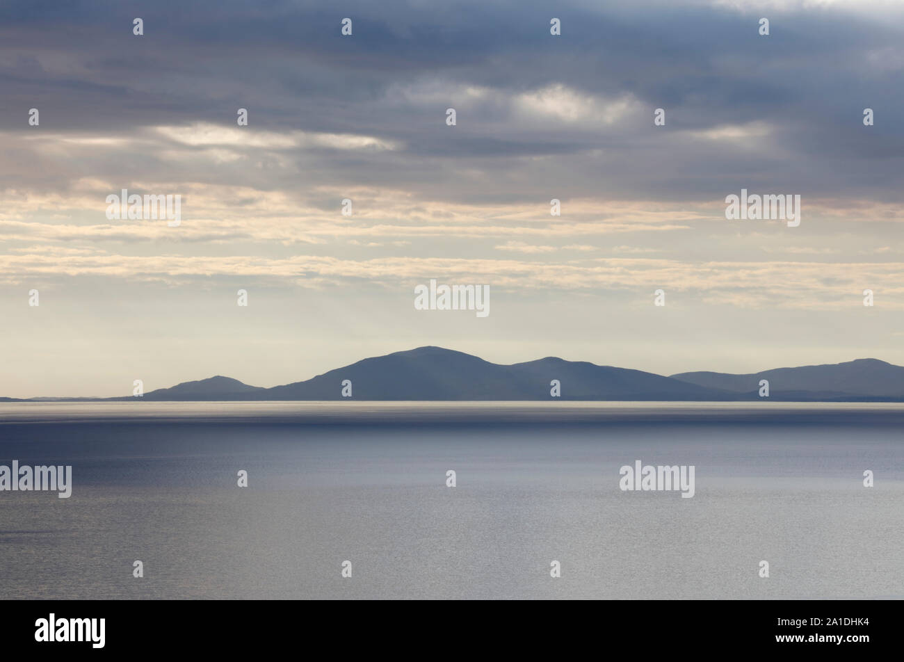 View across the Little Minch to the Isle of Harris, Scotland, UK Stock Photo