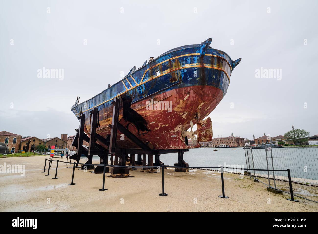 Venice, Biennale 2019, May You Live In Interesting Times; Christoph Büchel, 'Barca Nostra 2018-2019', '2250 x 710 x 860', 'Schiffswrack 18. April 2015 Stock Photo