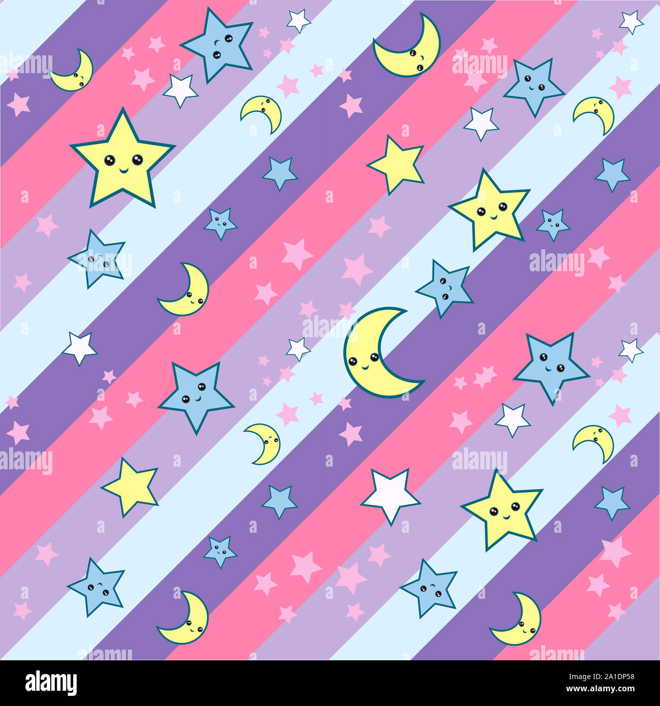 Seamless pattern with cartoon stars and moon cute kawaii muzzles in diagonal stripes back ground. can be used for fabric, wallpaper, stationery, packa Stock Photo