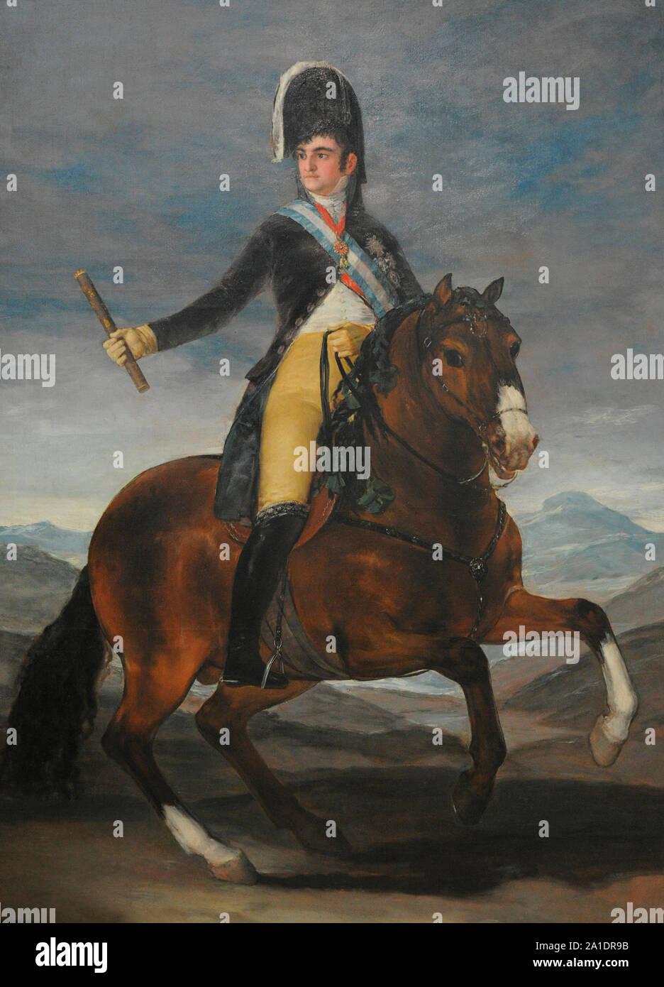 Ferdinand VII (1784-1833). King of Spain (1808-1833). Equestrian portrait of Ferdinand VII, 1808. By Francisco de Goya y Lucientes (1746-1828). San Fernando Royal Academy of Fine Arts. Madrid. Spain. Stock Photo